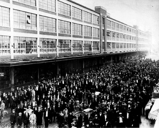 Jan. 5, 1914: To reduce high turnover rates among workers, Henry Ford more than doubled their pay from .34 for a nine-hour day to .00 for an eight-hour day. The next day, thousands swamped the Highland Park Ford Plant to apply for jobs.